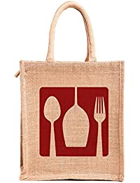 H&B Jute Handbag / Beige Bag With Red Dine Design / Quality Lunch Bag / Gift Bag / Jute Stylish Lunch Bag / Combo... - B0792T7SJF