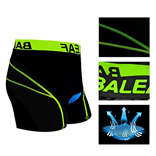 Baleaf Men's 3D Padded Bicycle Cycling Colored Underwear Shorts (Green, XXXL)