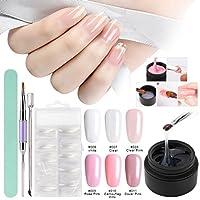 Kit de uñas de gel para construcción, Saviland 6 colores Poly Gel Dedo Extensión Set con False Nail Tips Brush Nail Art Manicura Kit (rosa claro blanco)