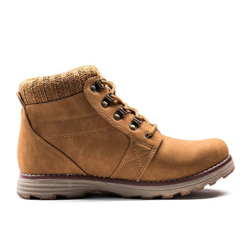Zaone Herren Winter Warm Martin Stiefel Combat Boots Wasserdicht Leder Winterschuhe Outdoor Schuhe Khaki