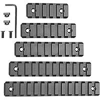 Riel Picatinny M-Lok, 5 ranuras 7 ranuras 9 ranuras 11 ranuras 13 ranuras Ligero M Lok Aluminio Picatinny Rail Sección para el sistema M-LOK con tuercas en T Tornillos Llave Allen, paquete de 5