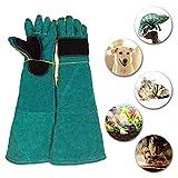 MUJING Super Lange Handschuhe Kratzen und Beizen Gartenarbeit Hitzebeständige Thick Abrasion Reptile Cat Dog Snake Animal Training Dog Prevention Training Futterhandschuhe,Green
