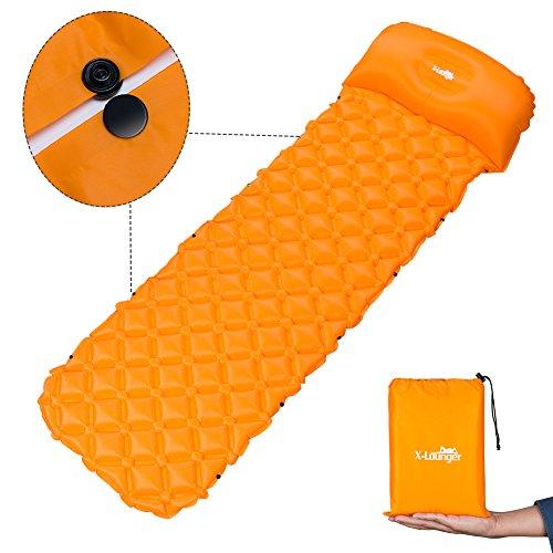 X-Lounger Aufblasbare Matte Pad mit Kissen und einzigartigem Schnallen-Design, leicht, faltbar, für Camping und Wandern geeignet, Hellorange, 74 x 23 inch -