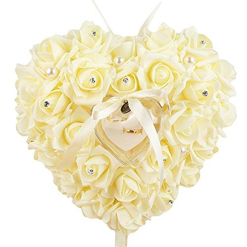 Dontdo fausses perles Rose Forme de cœur Bague Boîte à nourriture fiancée accessoire de mariage, beige, Taille unique