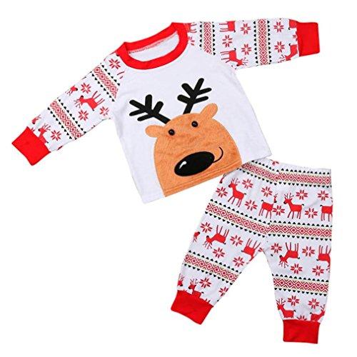 VENMO Bekleidung Set Baumwolle Langarm mit Kapuze Babybekleidung Winter Outfits Weihnachten Neugeborene Kinder Weihnachten Pullover Kleidung Deer T-shirt Oberteile + Baumwollhose Set (6T, Red)
