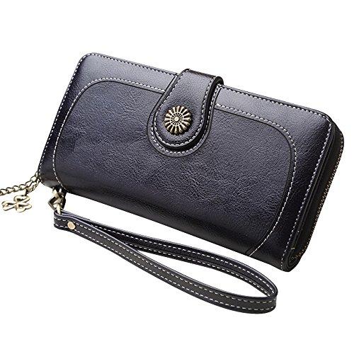 AIMEE7 Portefeuille Femme Grande Capacit Pas cher Porte-monnaie en cuir Bifold Wallet en cuir en cuir Porte-Cartes de Poche Slim Porte-Carte de Crédit Sécurisé(Noir)