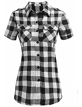 hotouch Classic de manga corta botón abajo camisa de cuadros bolsillo blusa de la mujer