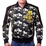 Herren Camouflage Design gefütterte Jacke aus 100% Baumwolle (L-Slim, Grün Camouflage)