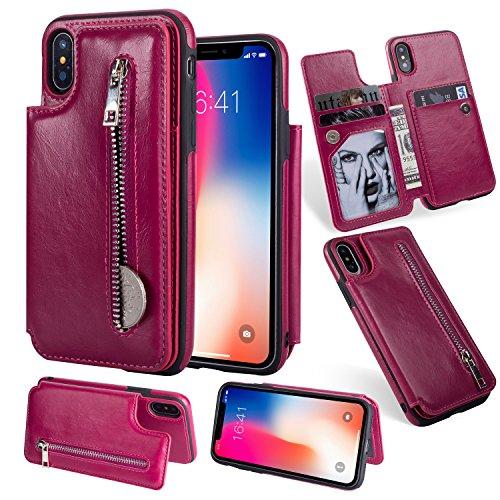 Artfeel Flip Brieftasche Hülle für iPhone Xr, iPhone Xr Leder Handyhülle mit Kartenhalter,Retro Multifunktion Reißverschluss Tasche Zurück Abdeckung mit Ständer Magnetverschluss-Rose Rot -