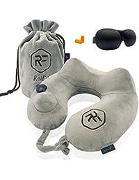 Coussin de voyage RelFit – Oreiller cervicales gonflable ergonomique de qualité PREMIUM, Tour de nuque avec En CADEAU : masque sommeil + bouchons d'oreilles - Kit confort pour dormir en voiture/avion