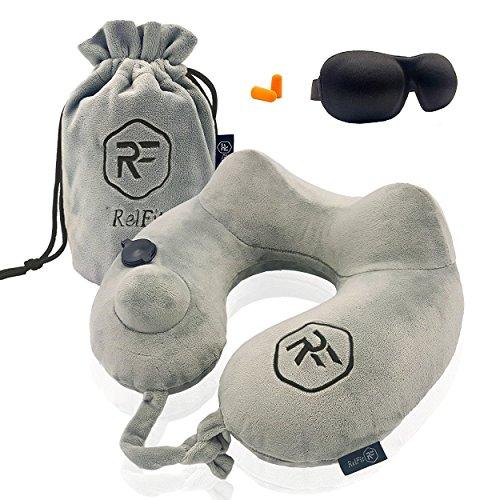 Cojín de viaje RelFit – Almohada cervical hinchable ergonómica de...