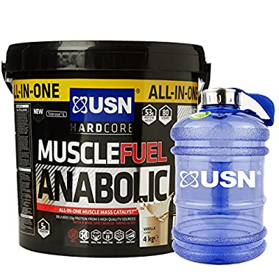 USN Muscle Fuel Anabolic 4 kg,Powerful All-In-One Shake,Supports Muscle Performance,Supports Muscle Recovery and Growth,Free USN Water Bottle Jug 2.2L BPA Free from USN