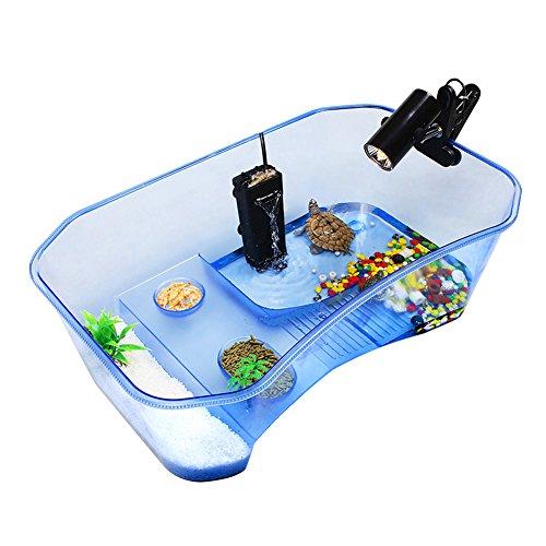 Zantec tartarughiera plastica senza coperchio, vasca comoda per tartarughe/rettili, 40*23*13 cm