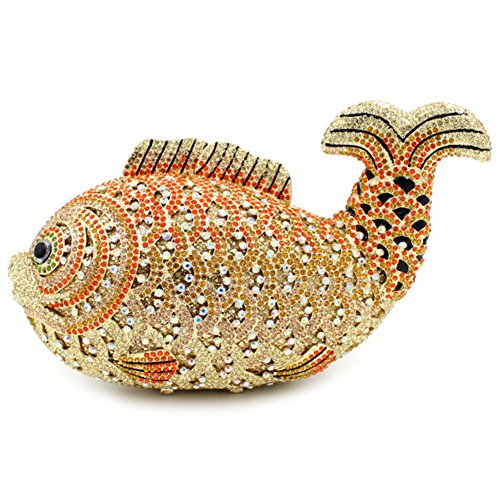 Santimon Clutch Delle Donne Lusso Bling Strass Pesce Borse Da Festa di Nozze Sera Con Tracolla Amovibile e Pacco Regalo 10 Colori oro01