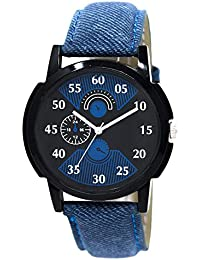 Style Keepers Amazing Stylish Sport Look Black Dial Stylish Blue Leather Strap Analog Watch For