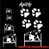Grosses Agility 1 Aufkleber-Set in DIN A 4 , 30x20 cm für Auto,Wand, Laptop,Kuche, Napf, u.alle glatten Flächen von Pegatina Promotion ® Name Hunde Hunde Pfoten Pfote ohne Hintergrund aus Hochleistungsfolie für Lack und Scheibe,Autoaufkleber, Laptop, Wandtattoo, Küche, Hund Hunde Dogs Sticker Herzlinie Hundefan