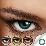 Farbige Jahres-Kontaktlinsen LOTTIE GREEN - Ohne Stärke in GRÜN - leicht gedrehtes Muster - von LUXDELUX® - (+/- 0.00 DPT)