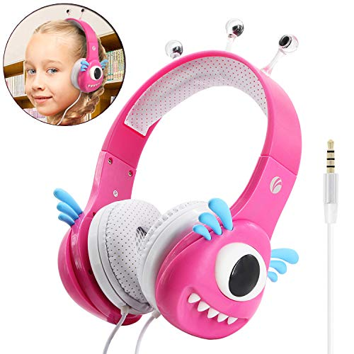 VCOM Kinder Kopfhörer, Verstellbare Mädchen Monster Kinder Kopfhörer Musik Gaming Headsets mit Lautstärke Begrenzender für iPhone iPad Smartphones Tablets Kindle PC Laptop Computers-Rosa