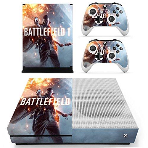 Preisvergleich Produktbild XBox One Slim + 2 Controller Aufkleber Schutzfolien Set - Battlefield 1 /One S