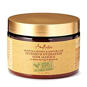 SheaMoisture Manuka Honey & Mafura Oil Intensive Hydration Hair Masque - hair masks (Women, Moisturizing, Smoothing, Strengthening, Water (Aqua), Cetyl Alcohol, Cocos Nucifera (Coconut) Oil, Behentrimonium Methosulfate, Butyrospermu, Section clean, wet hair. Apply generously. Use a wide tooth comb to distribute evenly from root to e)