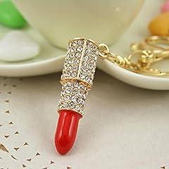 Idea Regalo - ANKKO Portachiavi rossetto creativo, Chiave a catena, Pendente strass (Rosso)