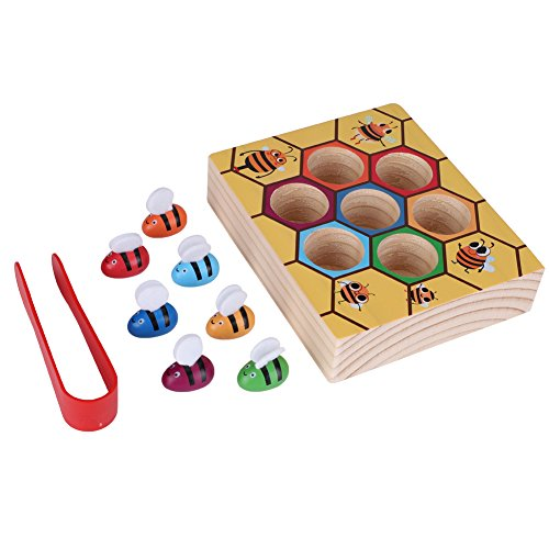 Zerodis Wooden Fun Bee Picking Catching Practices Toy Kids Hand Grasping Training Beehive Box Games Tool Early Educational Props