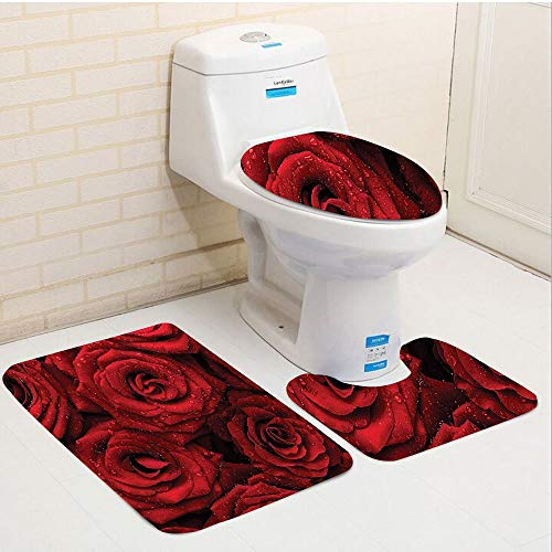 Bag hat Three-Piece Toilet seat pad customRed and Black Romantic Eternal Symbol of Love Red Roses with Rain Drops on Petals Photo Print Ruby