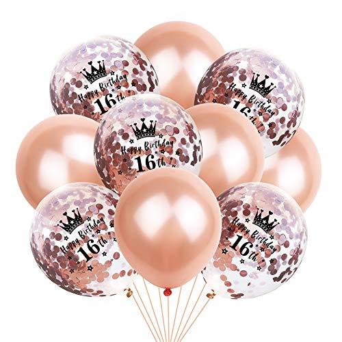 ballon Latex Ballons Latexballons Helium Ballons 10 Stück Krone Konfetti Ballons Premium Latex Ballons für Hochzeit Geburtstag Luftballon Party Deko-16th ()
