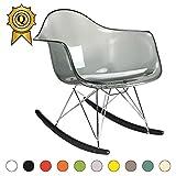 MOBISTYL 1 x Fauteuil à Bascule Rocking Chair Eiffel Pieds Bois Vernis Noir Assise Transparent Gris RARB-TG-1
