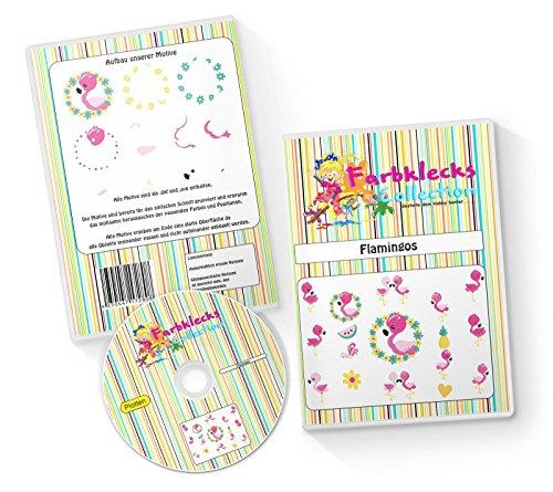 Farbklecks-Collection Plottervorlage Flamingos - Plotterdatei Set mit 17 Motiven