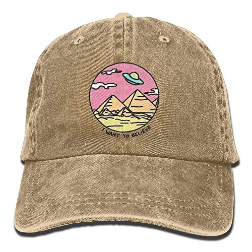 Men Women Classic Denim Believe UFO Adjustable Baseball Cap Dad Hat Low Profile Perfect for Outdoor -
