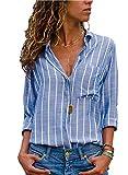 AitosuLa Bluse Gestreift Damen Hemd Oberteile V-Ausschnitt Lose Casual Chiffon Langarm T-Shirt Top Tunika Elegant Langarmshirt Streifen Blau Weiß XXL