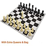 "Wigano 17""X17"" Black Roll-Up Vinyl Tournament Chess Set with Two extra Queens"