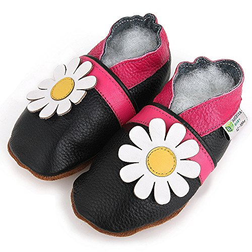 AUGUSTA BABY Baby Boys Girls First Walker Soft Sole Leather Baby Shoes - Genuine Leather Black daisy