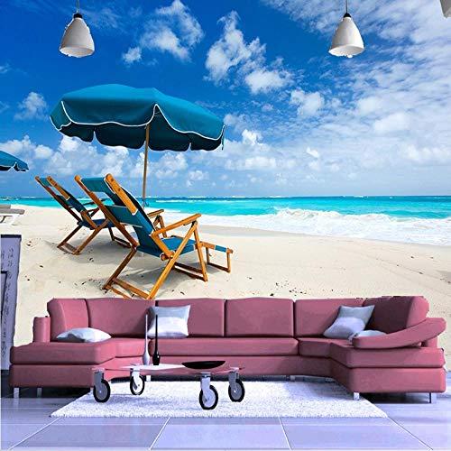Fotomurales Silla de Playa Marina 300x210 cm Vista 3D xxl Papel Pintado Tejido No Tejido decoración de Pared decorativos Murales...