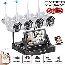 """SW Sistemas de cámara de 4 canales WIFI NVR de seguridad inalámbrica con 4 aire libre 720P HD ángulo de visión amplio de Vigilancia de la cámara del CCTV Plug and Play NVR con 7 """"monitor + 1 TB de disco duro"""
