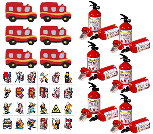 KSS Großes 18 Teiliges Feuerwehr Set Anspitzer , Radiergummi , Tattoos Alles im Feuerwehr Design , Kindergeburtstag als Mitgebsel , Mitbringsel , Tombola , Verlosung , Party - Feuerwehr Party