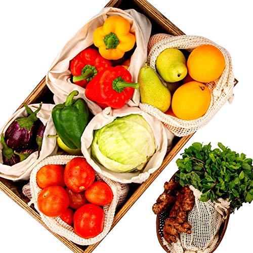 Alle Baumwolle und Leinen Gemüse Tasche, Obst und Gemüse Tasche Baumwolle, Musselin Tasche, Baumwollnetze, Wiederverwendbare Taschen, 10er- einstellen (6 Musselin, 4 Mesh