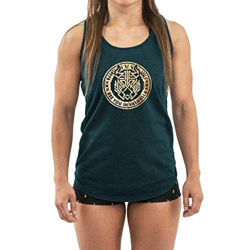 FEHUHREINN Tank Top Valhalla - Camiseta tirantes deportiva de mujer para entrenamientos funcionales, Fitness y Crossfit - Azúl oscuro, Talla M