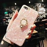 Funda iPhone 8 Plus/7 Plus,Bling Diamond Estuche Grip con anillo giratorio de 360 grados Estuche Seashell Estuche parachoques de TPU amortiguación choque TPU suave para iPhone 8/7 Plus(Rosado)