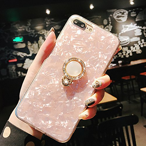 Crystal Bling Case (iPhone Fall, Seashell Pattern Soft TPU Dämpfung Crystal Bumper Case mit Bling Diamant 360 Grad drehbar Ring Grip Halter Ständer, iPhone 8/7 Plus, iPhone 8/7 Plus(Pink))