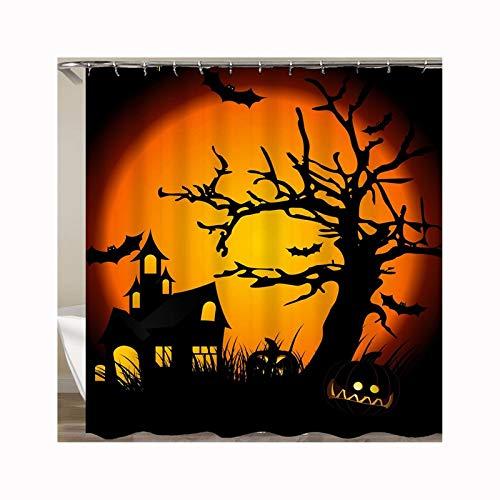 Daesar Badewannen Duschvorhang 150x180 Halloween Haus Anti Schimmel Duschvorhang Waschbar Polyester-Stoff