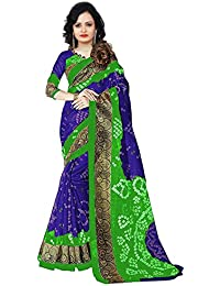 Aaina Blue & Green Bhagalpuri Silk Printed Saree With Blouse