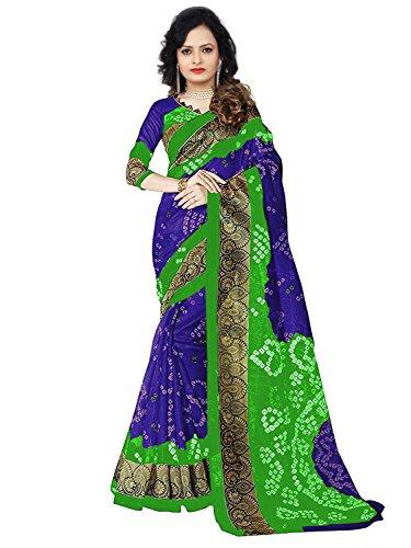 Aaina Blue & Green Bhagalpuri Silk Printed Saree With Blouse
