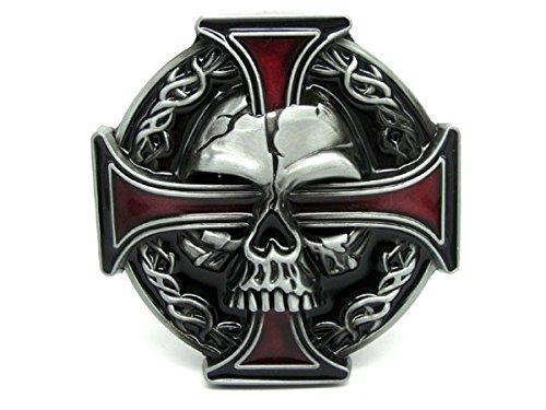 Hebilla para cinturón de motero, diseño de calavera y cruz celta, rojo, 80mm Wide 80mm High