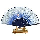 ChicEver Fächer Handfächer aus Bambus & Seide Stoff Blumen & Schmetterlinge Blau 7293e