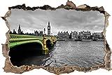 Pixxprint 3D_WD_4839_62x42 Skyline von London mit Themse und Big Ben Wanddurchbruch 3D Wandtattoo, Vinyl, schwarz / weiß, 62 x 42 x 0,02 cm