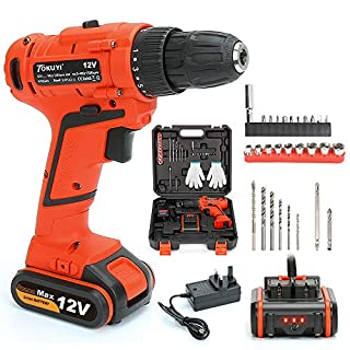 12V Cordless Drill Driver Set, Lithium-ion Screwdriver with Variable Speed and Forward/Reverse Switch, Max Torque 23N.m, 17+1 Torque Setting, 10mm Chuck, 29 Pieces Accessories, 1.5Ah Li-ion Battery