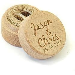 Personalizada caja de anillos de boda rústica
