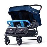 Hzl Zwillingskinderwagen, Zwillingsbuggy, Leichter Faltbarer Aufbewahrungskorb für Babys und Kinder,Blue